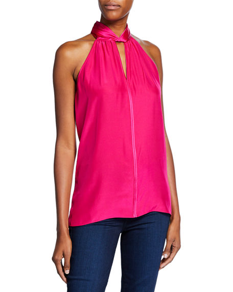 Elie Tahari REGAN HIGH-NECK SILK HALTER TOP
