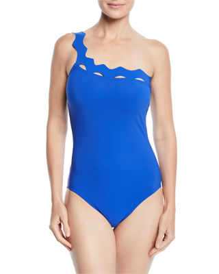 KARLA COLLETTO Havana One-Shoulder One-Piece Swimsuit With Shelf Bra in Blue