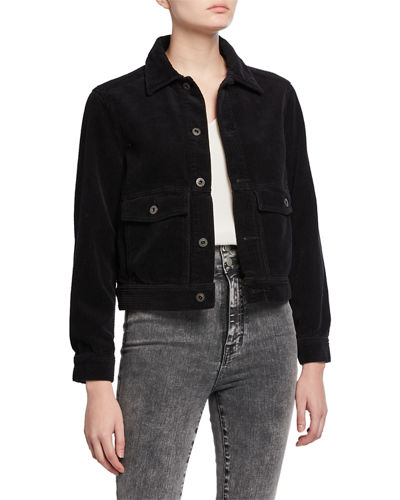 Evonne Button-Front Corduroy Jacket