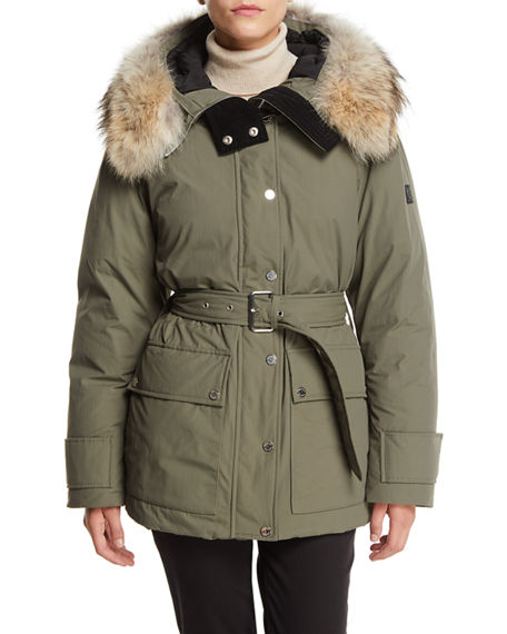 Belstaff Dawlby Waterproof Down Jacket w/ Fur Trim