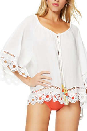 Ramy Brook Dimitri Tie-Front Embroidered Tunic