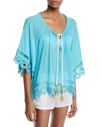 Dimitri Tie-Front Embroidered Tunic