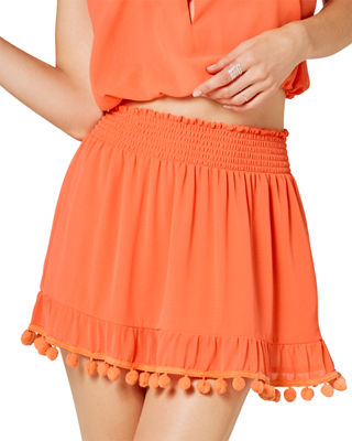 Stevie Mini Skirt With Pom-Pom Trim in Orange