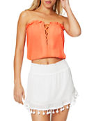 Ramy Brook Mika Strapless Blouson Crop Top and