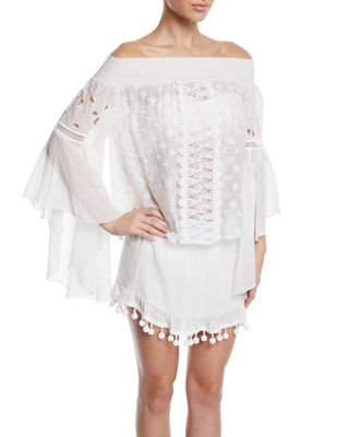 Elsie Embroidered Long-Sleeve Coverup Top in White