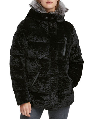 ANDREW MARC Vara Crushed Velvet Down Jacket W/ Fur Hood in Black