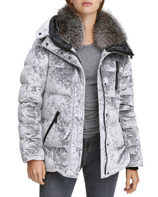 ANDREW MARC Vara Crushed Velvet Down Jacket W/ Fur Hood in Silver