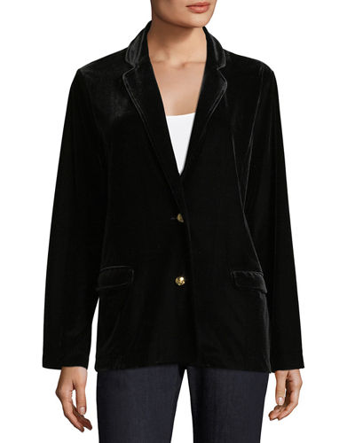 Plus Size Stretch-Velvet Two-Button Blazer