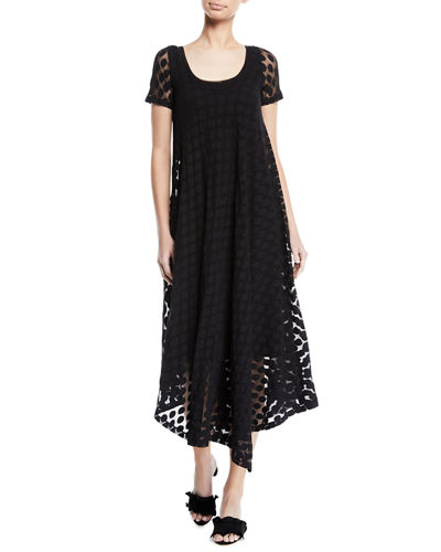 Short-Sleeve Asymmetric-Hem Dotted Dress