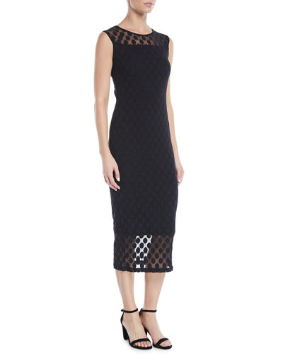 Dotted Sleeveless Sheath Dress
