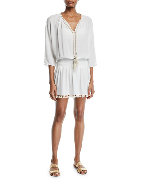 Ramy Brook Katana 3/4-Sleeve Fringe Coverup Dress