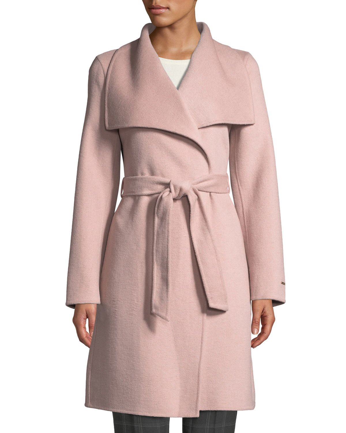 Tahari ELLIE HANDMADE WRAP COAT W/ BELT