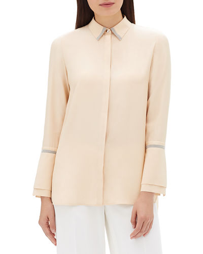 Katja Long-Sleeve Matte Silk Blouse w/ Chain Detail