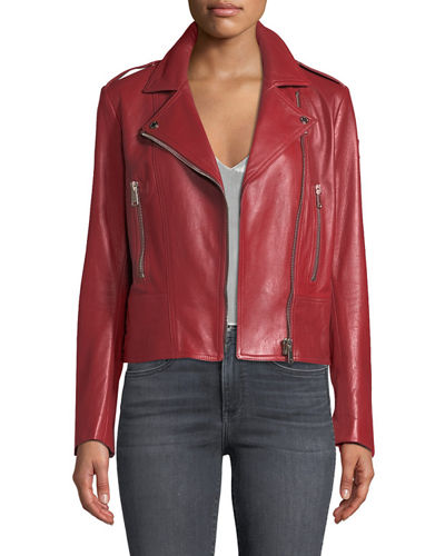 Marving-T Lambskin Leather Moto Jacket