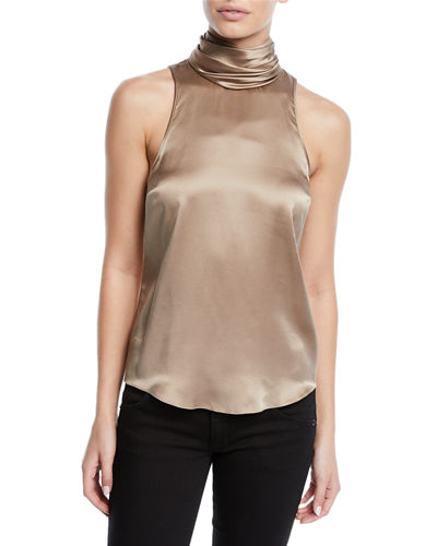 Jazlyn Silk Sleeveless Turtleneck Top