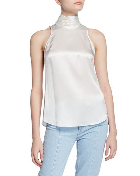 cinq a sept Jazlyn Silk Sleeveless Turtleneck Top