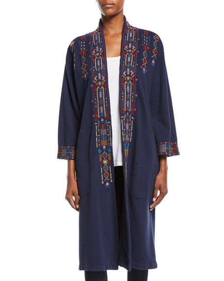 Johnny Was PLUS SIZE CLEO EMBROIDERED LONG COAT