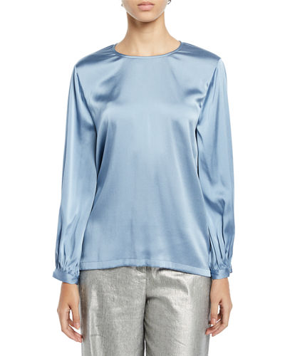 Ruched-Cuff Silk Charmeuse Blouse