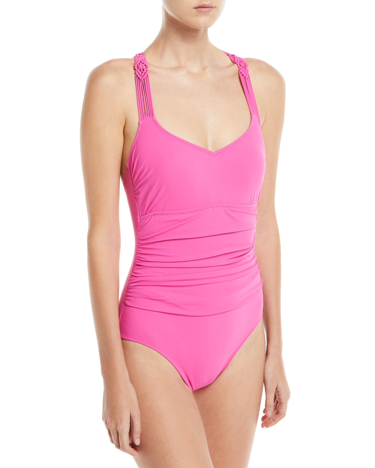Java Scoop-Neck Macrame Back One-Piece Swimsuit