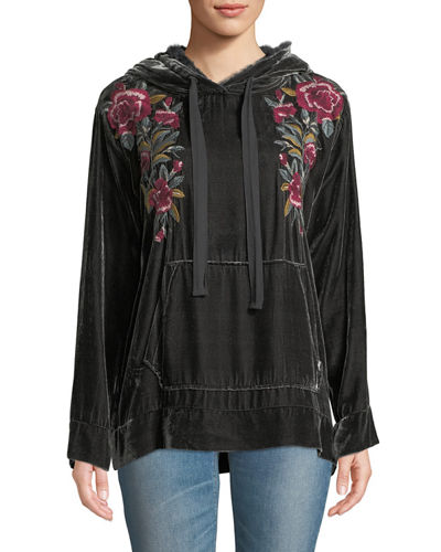 Marmont Floral-Embroidered Velvet Hoodie