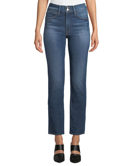 Image 1 of 2: FRAME Le Sylvie High-Rise Straight-Leg Ankle Jeans