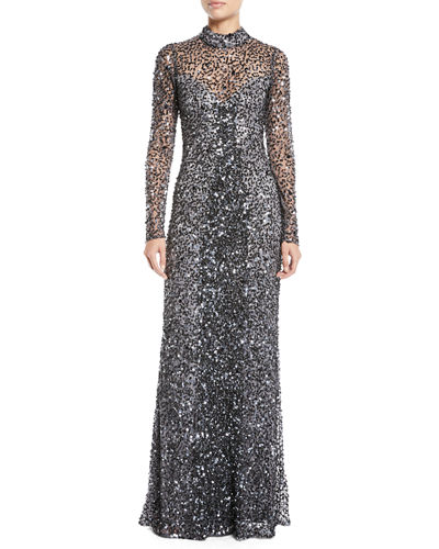 Leandra Sequin Long-Sleeve Gown Dress