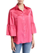 Finley Naomi Satin Button-Front Shirt