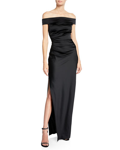 Ally Off-the-Shoulder Gown in Satin
