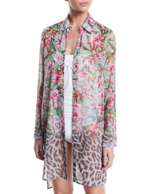 CARMEN MARC VALVO Ombre Floral/Leopard Sheer Button-Down Coverup Shirt in Multi