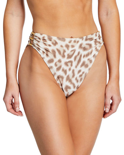 Carmen Marc Valvo Cutout Leopard High-Waisted Bikini Bottom