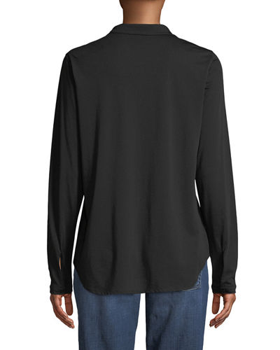 Eileen Fisher Petite Organic Cotton Jersey Collared Shirt