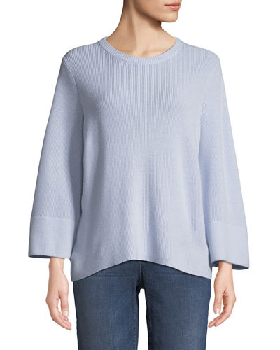 Eileen Fisher Bell-Sleeve Rib-Knit Sweater