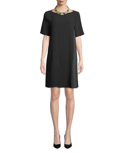 Bateau-Neck Silk Crepe Shift Dress, Plus Size