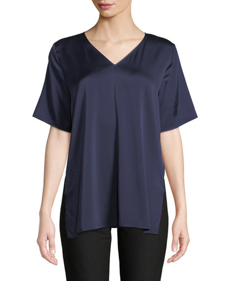 Eileen Fisher V-Neck Silk Charmeuse Top