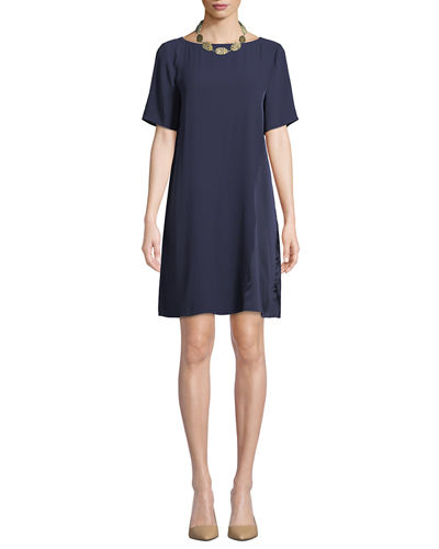 Bateau-Neck Silk Crepe Shift Dress