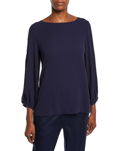 Split-Sleeve Silk Crepe Blouse, Plus Size
