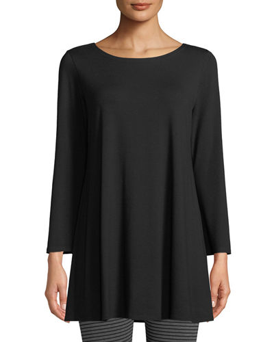Wide-Sleeve Ballet-Neck Viscose Jersey Tunic, Plus Size