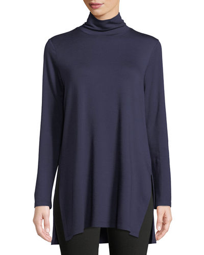 Mock-Neck Terry Long Tunic Sweater
