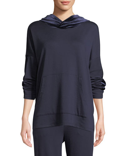 Eileen Fisher Plus Size Velvet-Trim Hooded Terry Pullover Sweatshirt