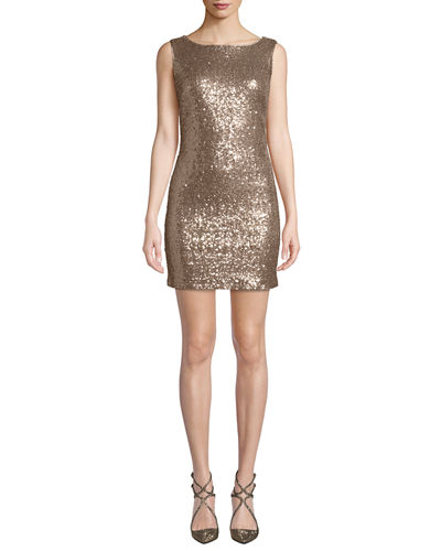 Cowl-Back Sequin Mini Dress