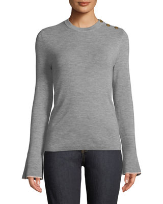 Button-Shoulder Flare-Sleeve Sweater in Medium Gray Melange