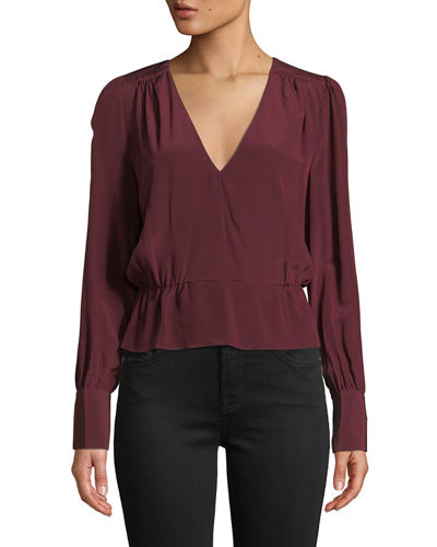 Deep V Long-Sleeve Silk Peplum Top