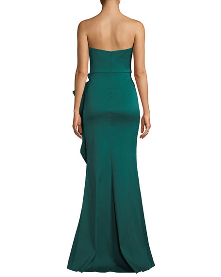 Image 2 of 3: Badgley Mischka Collection Strapless Mikado Cascading Ruffle Gown