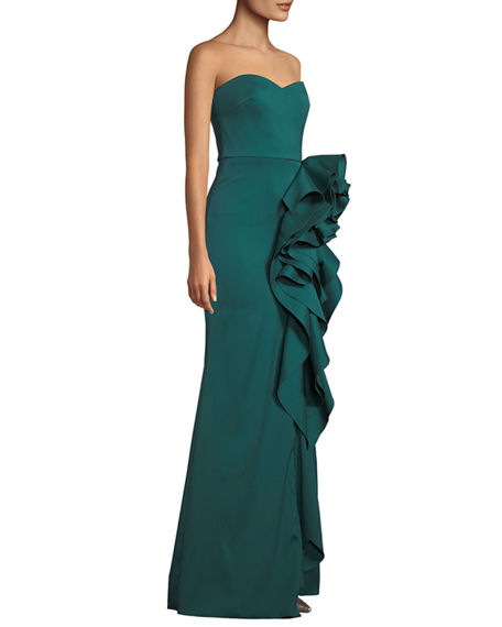 Image 3 of 3: Badgley Mischka Collection Strapless Mikado Cascading Ruffle Gown
