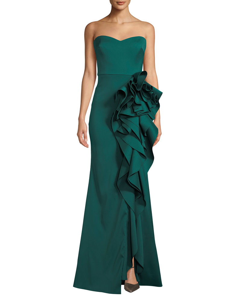 Badgley Mischka Collection Strapless Mikado Cascading Ruffle Gown