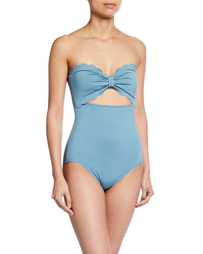 scalloped cutout bandeau one-piece swimsuit