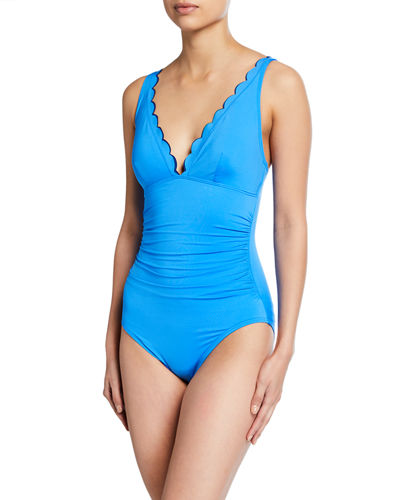 scalloped v-neck ruched one-piece swimsuit