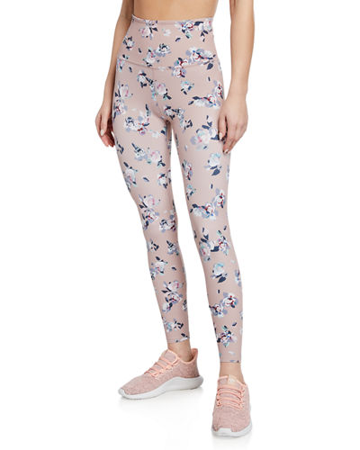 Marble-Print High-Waist Midi Performance Leggings