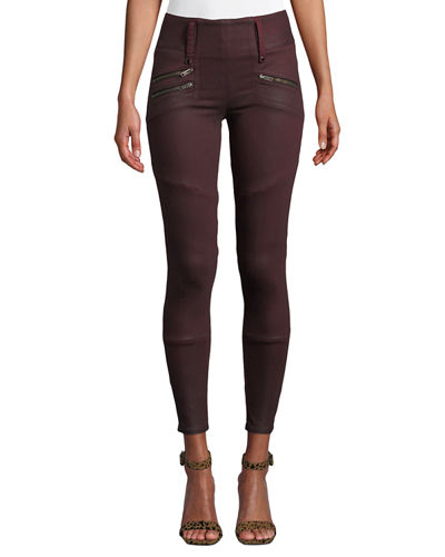 High-Rise Moto Skinny Ankle Jeans