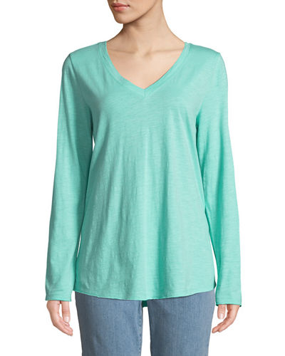 V-Neck Organic Cotton Jersey Slub Top